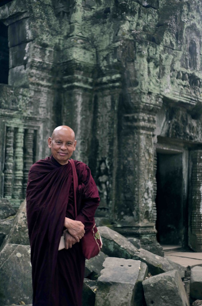 Vimala Dhamma, a Buddhist Monk from Burma at Ta Phrom Temple, Angkor