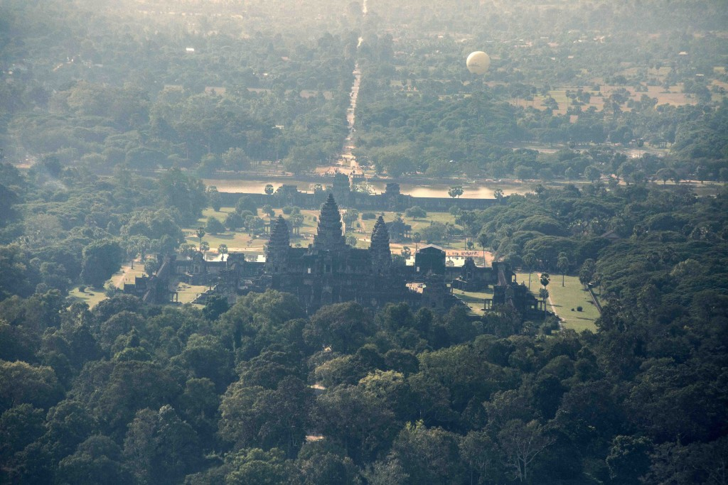 A aerial photograph of Angkor Wat temple.