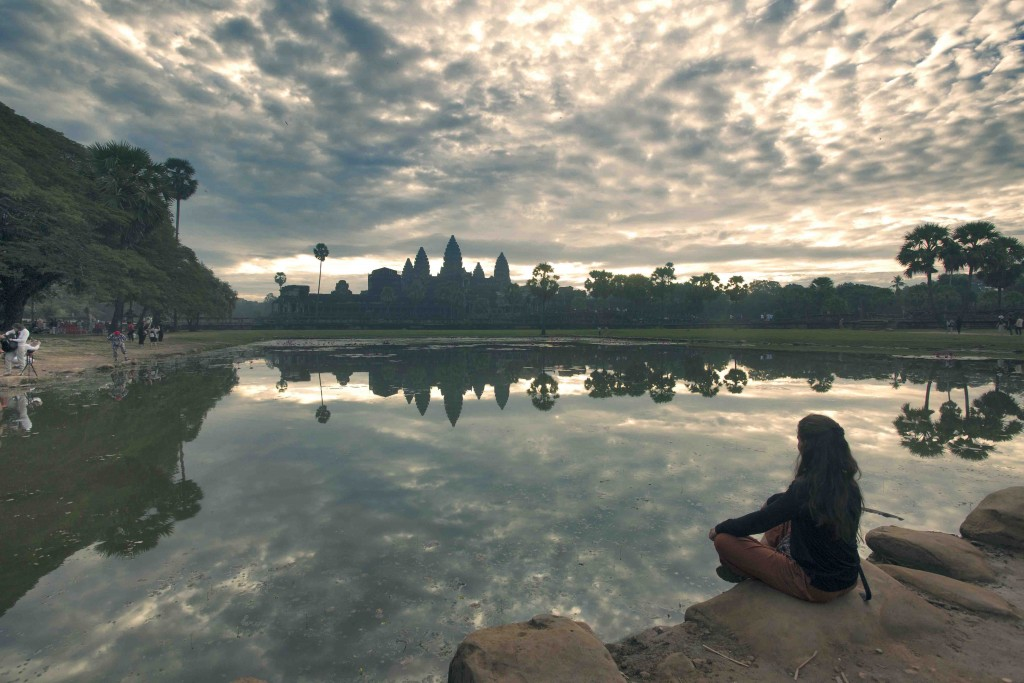 A early morning view of Angkor Wat Temple.