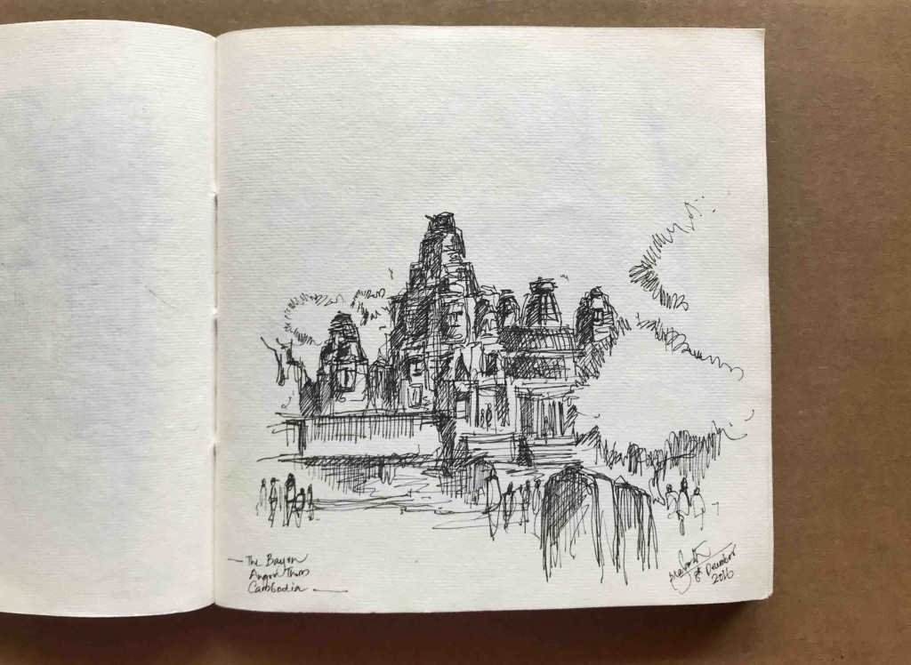 A Sketch of Bayon, Angkor Thom by Prasanth Mohan.