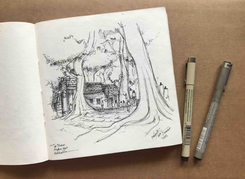 A Sketch of Ta Prohm, Angkor Wat by Prasanth Mohan.